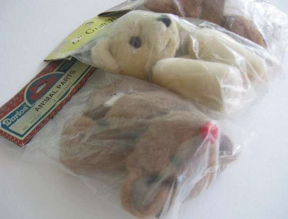 bear and reindeer DOLL PARTS for doll making, includes two reindeer and one bear