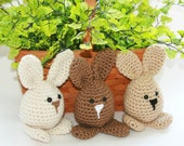 Custom Bunny decor or toys, trio 3 Easter spring crochet amigurumi rabbits neutral brown, tan, beige