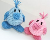 Baby chicks set of two shower gift boy or girl crochet pastel pink and blue Custom colors available.