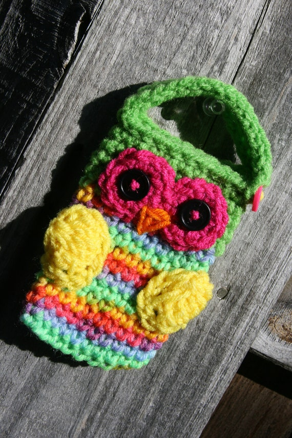 Crochet Owl Cell phone camera iPod holder case cozy neon brights in green, hot pink, yellow, blue and orange