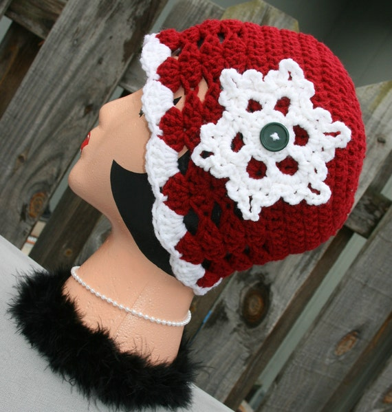 Ladies dark red burgundy snowflake hat white, red and green button accent. Only one available.