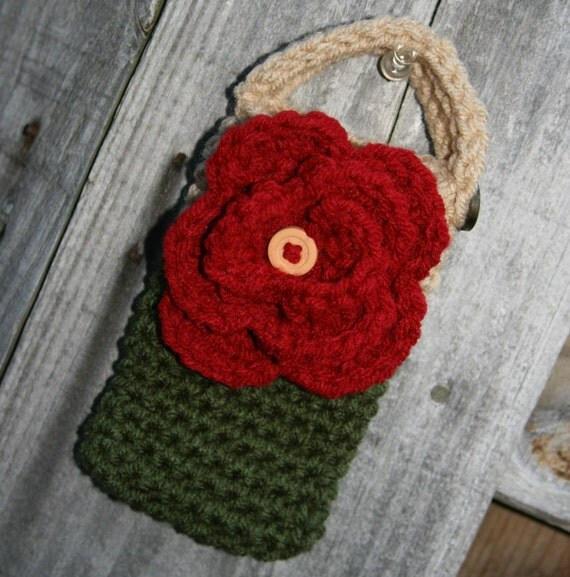 Flower Cell phone case or cozy crocheted in autumn theme olive green, red, and tan or beige