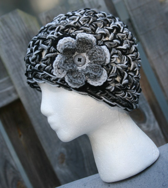 Gray Cloche hat crochet flower and button accent hat in beautiful autumn colors of grey, silver and black