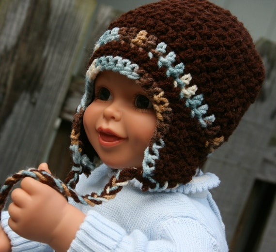 Baby Boy hat earflap crocheted in blue camo, tan and brown 0-3 months Only one available
