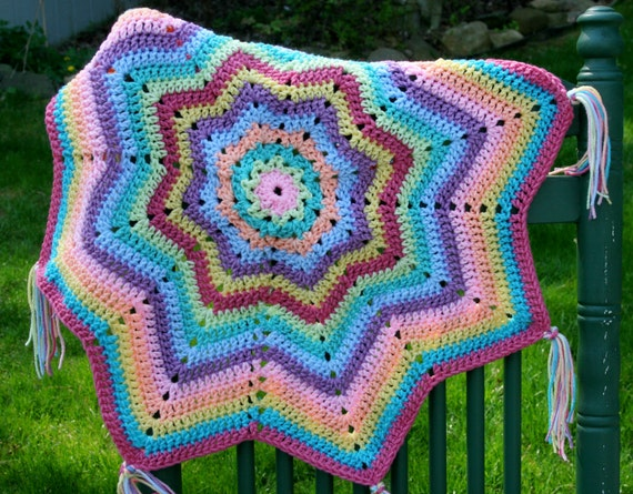 Baby rainbow afghan blanket buddy photo prop One of a kind crochet pastel round star pointed