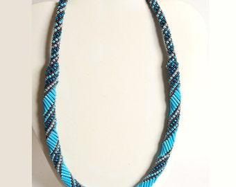 Circular peyote necklace-turquoise toned