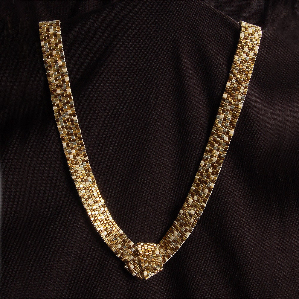 Various gold-toned peyote necklace
