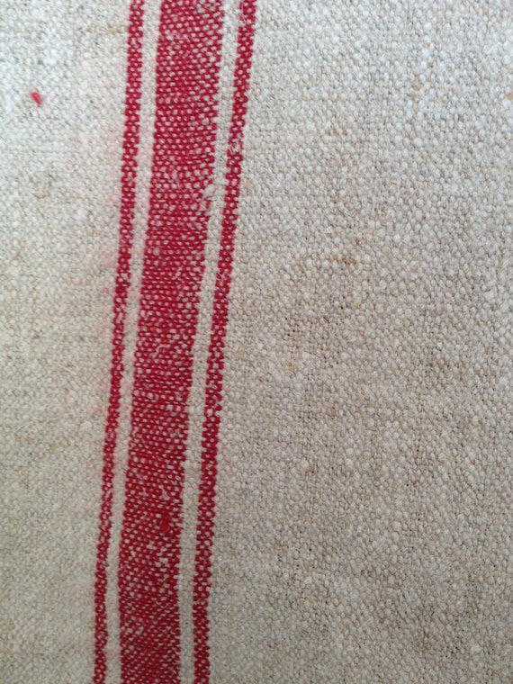 Antique European Grain Feed Burlap/Canvas Sack with 3 Red Stripes