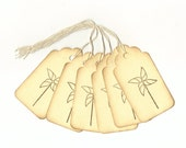 PinWheels Hand Stamped Large Scallop Die Cut Hang Tags (Set of 6) Favor Tags
