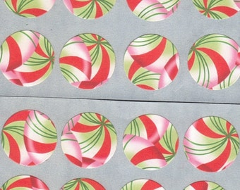 Christmas Peppermint Candies Envelope Seals Stickers (12) 1.5 inch