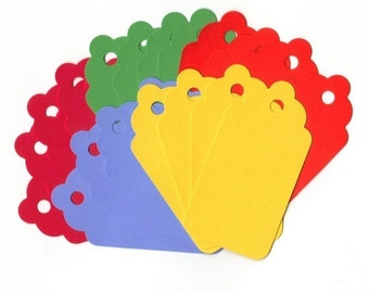 Primary Colors Large Scallop Die Cut Hang Tags (20) Scrapbooking