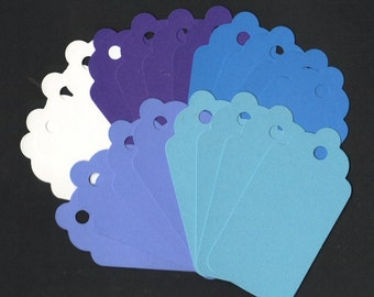 GIFT HANG TAGS - Boy Colors Scallop Die Cut Tags (20)