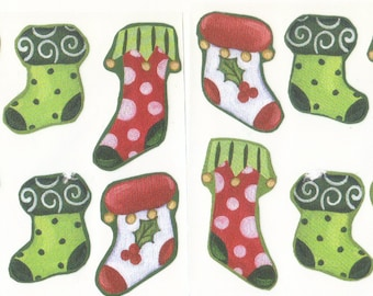 Christmas Stockings Envelope Seals Stickers (12)