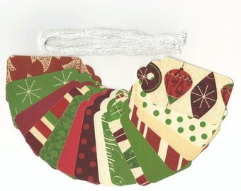 GIFT HANG TAGS - Wonderful Christmas Wishes Large Scallop Die Cut Tags (15) Wedding Wish Tree Tags