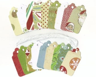 Christmas Gift Hang Tags - Sweet Dreams Holiday Avenue Scallop Die Cut Tags (18) Favor Tags / Ready To Ship
