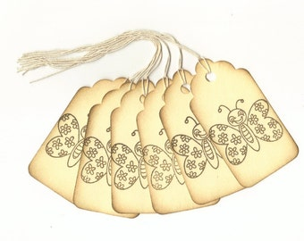 Whimiscal Butterfly Hand Stamped Large Scallop Die Cut Hang Tags (Set of 6) Favor Tags