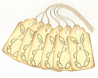 Bunny Vintage Look Hand Stamped Large Scallop Die Cut Hang Tags (Set of 6) Favor Tags