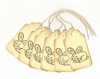 Bunny Rabbit Too Vintage Look Hand Stamped Large Scallop Die Cut Hang Tags (Set of 6) Favor Tags