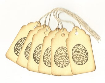 Deco Egg Vintage Look Hand Stamped Large Scallop Die Cut Hang Tags (Set of 6)
