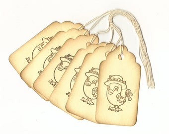 Sunday Chick Vintage Look Hand Stamped Large Scallop Die Cut Hang Tags (Set of 6)