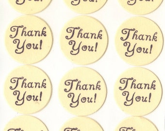 Cream Thank You Envelope Seals Stickers (24) Package Decor 1 Inch