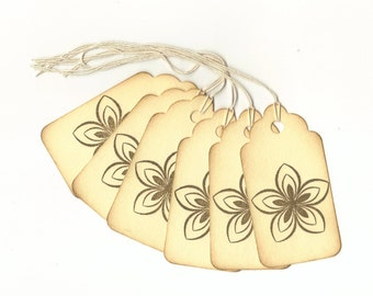 Flower Hand Stamped Large Scallop Die Cut Hang Tags (Set of 6) Wish Tree Tags