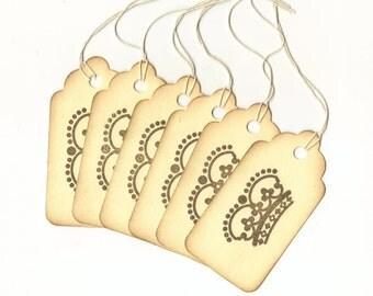 Crown II Hand Stamped Large Scallop Die Cut Hang Tags (Set of 6) Favor Tags