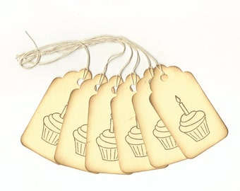 Birthday Cupcake Hand Stamped Large Scallop Die Cut Hang Tags (Set of 6)