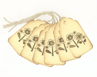 Spring Flowers Hand Stamped Large Scallop Die Cut Hang Tags (Set of 6) Favor Tags