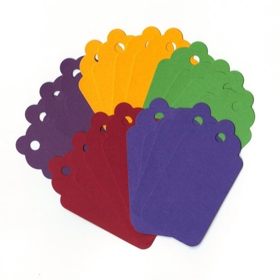 Jewel Tones Large Scallop Die Cut Gift Hang Tags (20) Scrapbooking