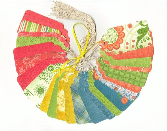 GIFT HANG TAGS - Cotton Bloom Collection Large Scallop Die Cut Tags (24)
