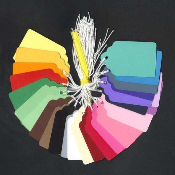 BULK Rainbow Cardstock Scallop Die Cut Hang Tags with String (100)