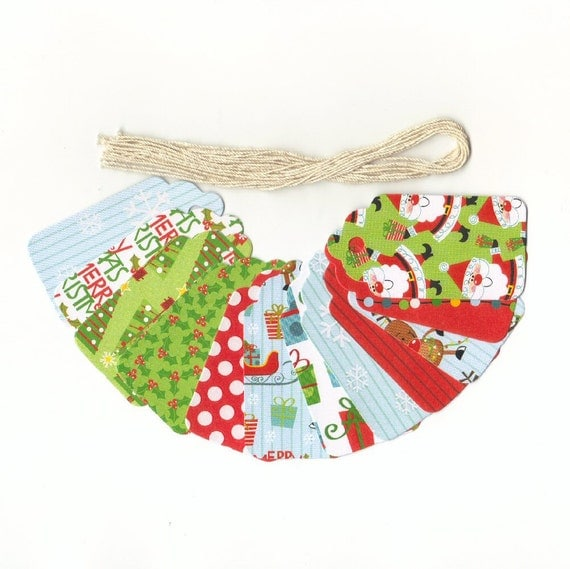 ONE DOLLAR Gift Hang Tags - I Believe In Santa Glossy Christmas Scallop Die Cut Tags (12) Package Decor