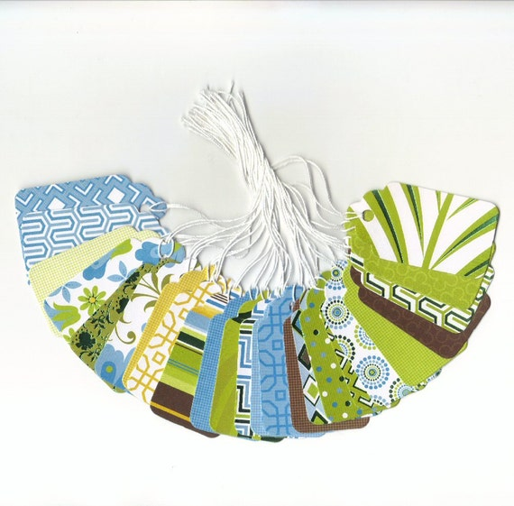One Dollar - Green Tea Collection Medium Scallop Die Cut Gift Hang Tags (24)