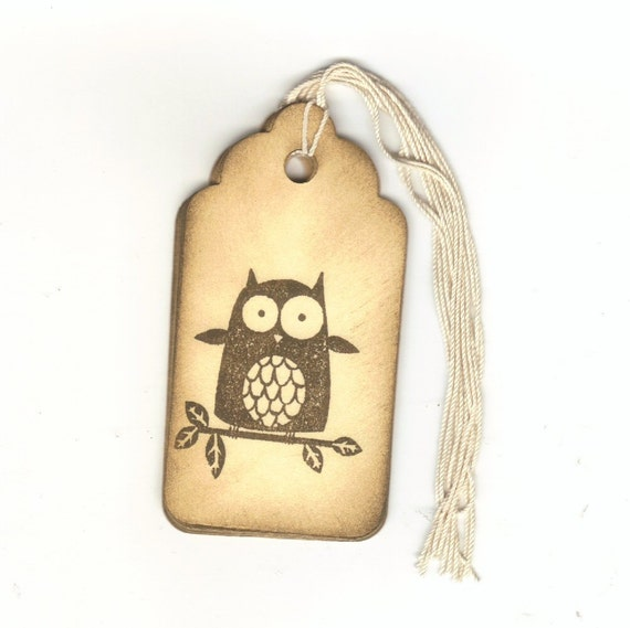 1 ONE DOLLAR SALE - Owl Hand Stamped Large Scallop Die Cut Hang Tags (Set of 6)