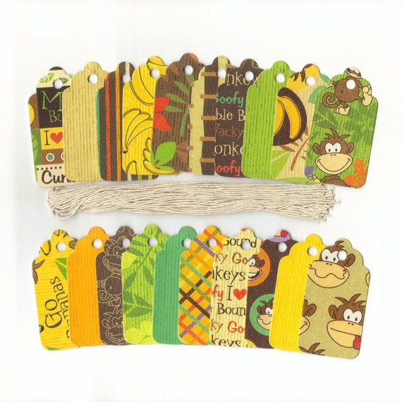 ONE DOLLAR - Cheekee Monkey Collection Scallop Die Cut Gift Hang Tags (20)