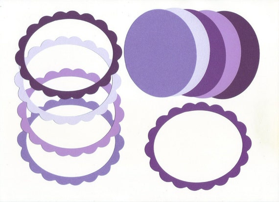 Purple Passion Scallop Oval Die Cut Cardstock Photo Frames (Set of 5)
