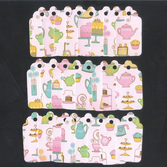 ONE DOLLAR SALE - Tea Time in Pink Scallop Die Cut Gift Hang Tags (24) Package Decor