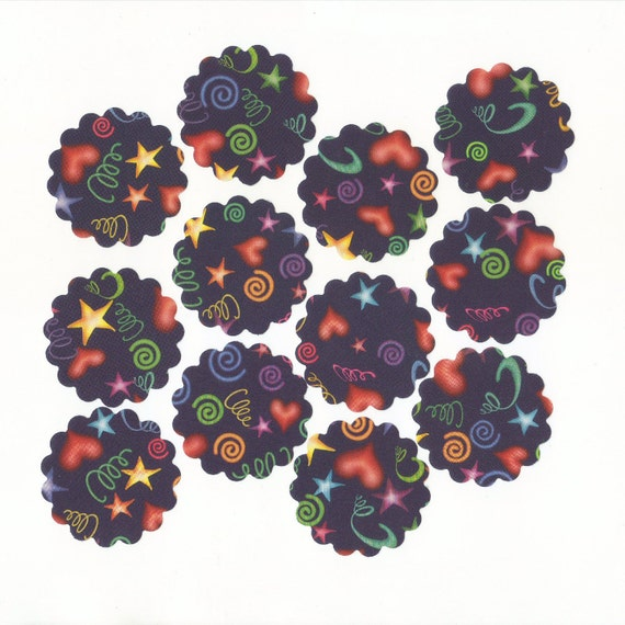Hearts, Stars, and Coils Scallop Circle Die Cuts (Set of 12) 2 inch