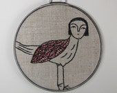 hand embroidery-little bird in charcoal gray and red