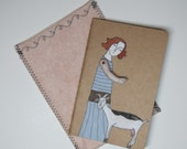 girl in grey stripes with her goat - blank Moleskine Cahier journal
