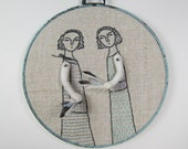hand embroidery hoop art -finding feathers