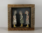hand embroidery diorama- yellow galoshes