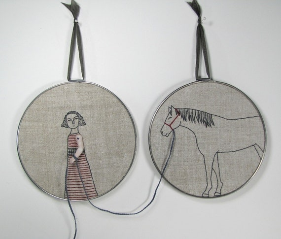 girl and her horse- hand embroidery