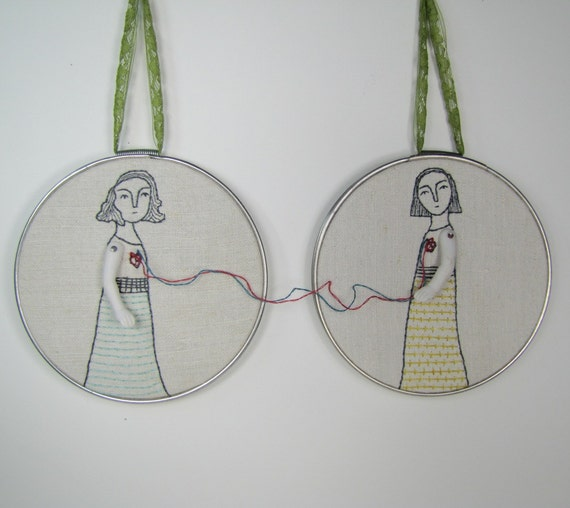 hand embroidery hoop art-connection no.4 in yellow and aqua