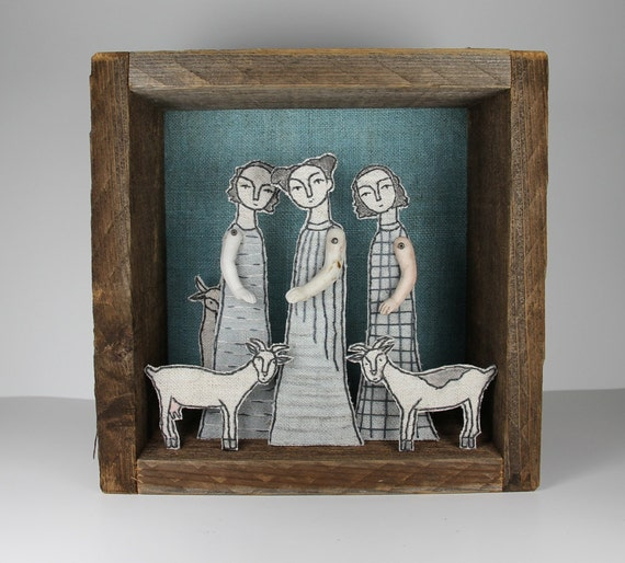 Reserved for Mpanayides fiber art diorama - girls and goats