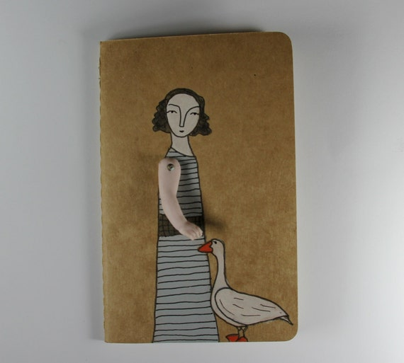 Moleskine Cahier journal- ruled- girl and her goose