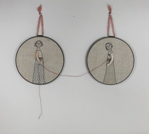 hand embroidery hoop art-  the mender