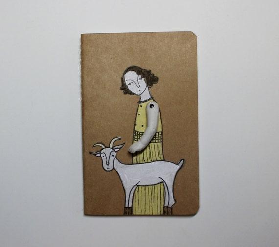 Moleskine Cahier journal- blank- girl and her goat