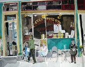 Caffe Trieste  North Beach, San Francisco ... Limited Edition Art Print, from one of my original watercolors,